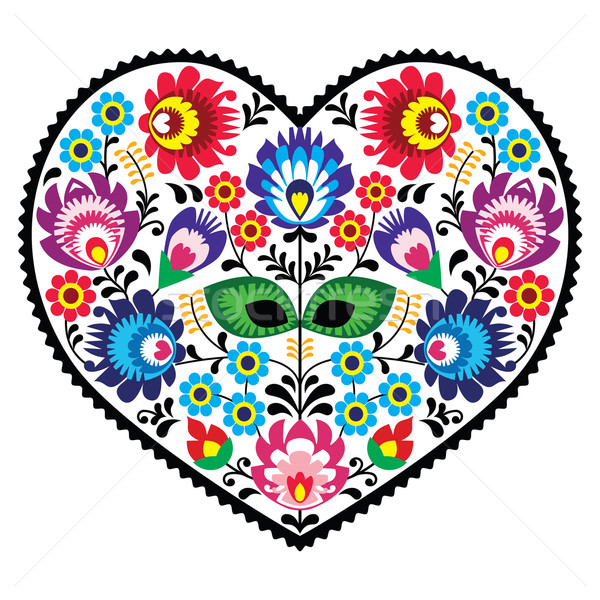 Polish folk art art heart embroidery with flowers - wzory lowickie Stock photo © RedKoala