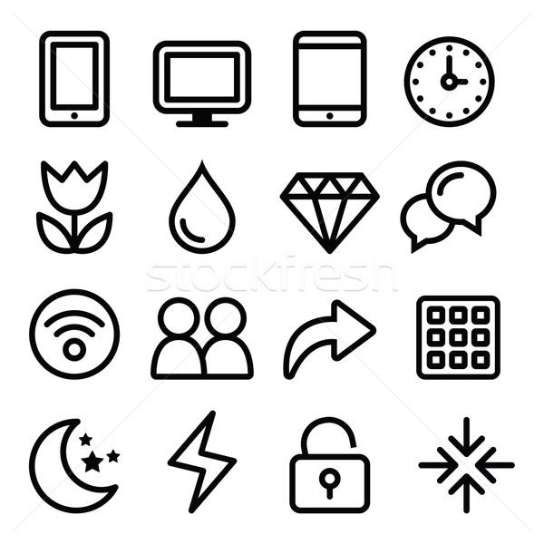 Web menu navigation line icons set - electronic devices Stock photo © RedKoala