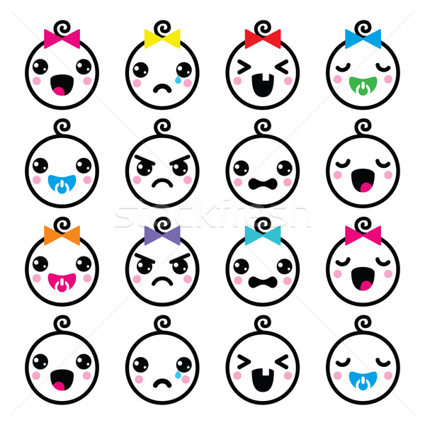 Kawaii baby boy and girl cute faces icons set  Stock photo © RedKoala