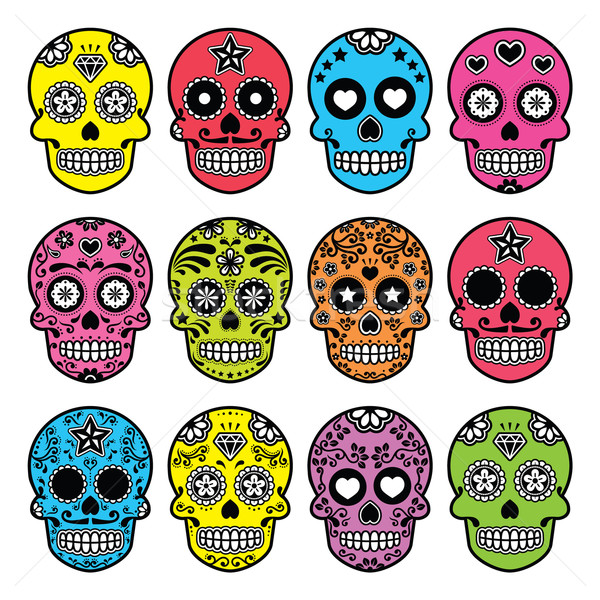 Halloween Mexican sugar skull, Dia de los Muertos icons set  Stock photo © RedKoala