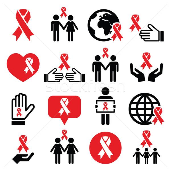 Világ AIDS nap ikon szett vörös szalag szimbólum Stock fotó © RedKoala