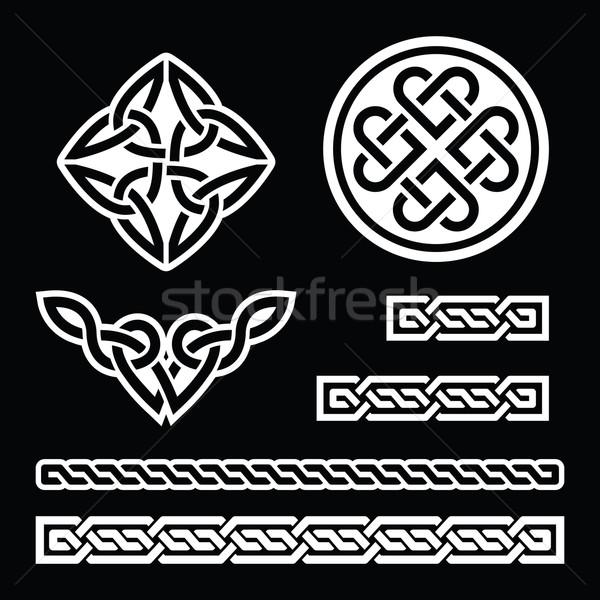 Celtic Irish Patterns And Braids Vector St Patrick's Day On Black Beauteous Irish Patterns