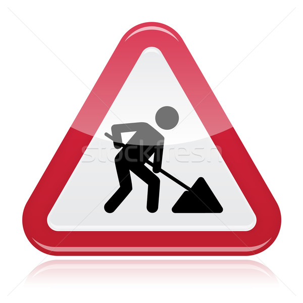 Stock photo: Road works sign, under construction