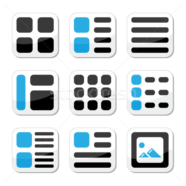 Website display options and photo gallery view icons set Stock photo © RedKoala