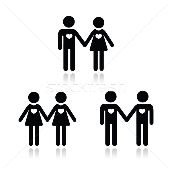 Hetero, gay, and lesbian love couples icons set Stock photo © RedKoala