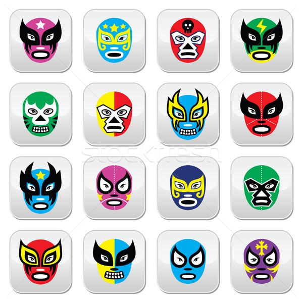 Mexicaanse worstelen maskers iconen vector Stockfoto © RedKoala