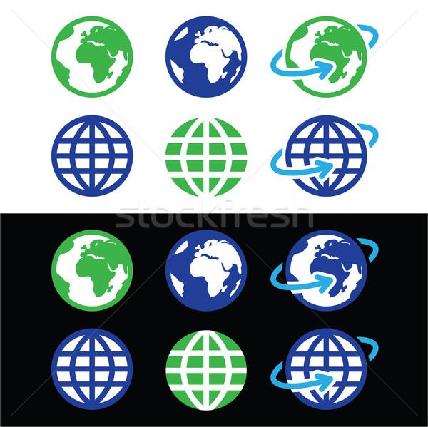 Stok fotoğraf: Dünya · toprak · vektör · simgeler · renk · dünya · haritası