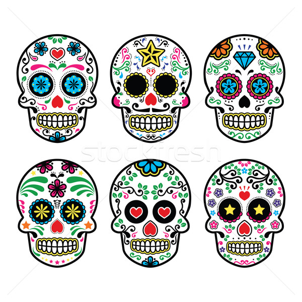 Mexican sugar skull, Dia de los Muertos icons set on white background Stock photo © RedKoala