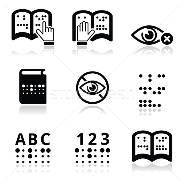 Blindness, Braille writing system icon set  Stock photo © RedKoala
