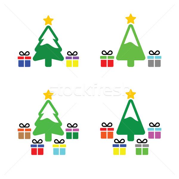Stock fotó: Karácsonyfa · ajándék · ikon · szett · vektor · karácsony · fa