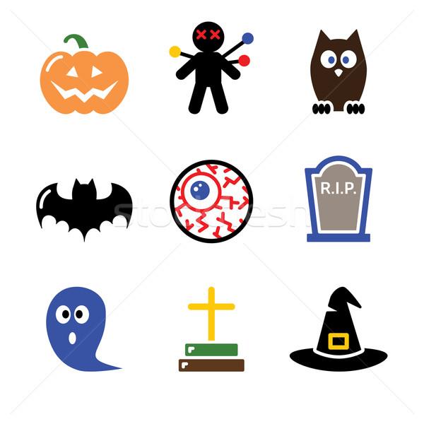 Halloween black icons set - pumpkin, witch, ghost Stock photo © RedKoala