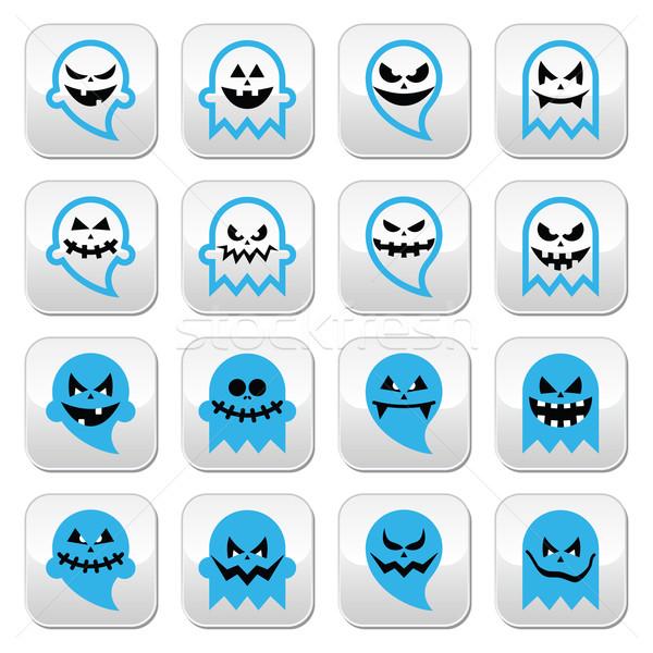 Halloween effrayant fantôme esprit vecteur boutons Photo stock © RedKoala