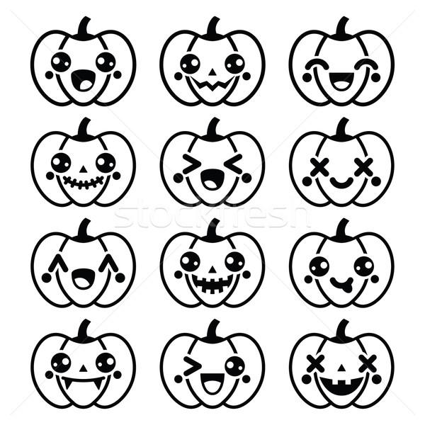 Halloween kawaii bonitinho preto abóbora ícones Foto stock © RedKoala