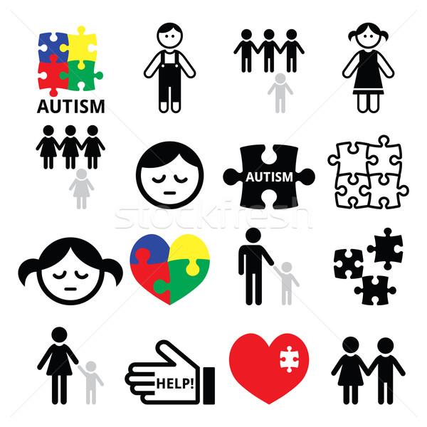 Autismo consciência crianças ícones mundo Foto stock © RedKoala