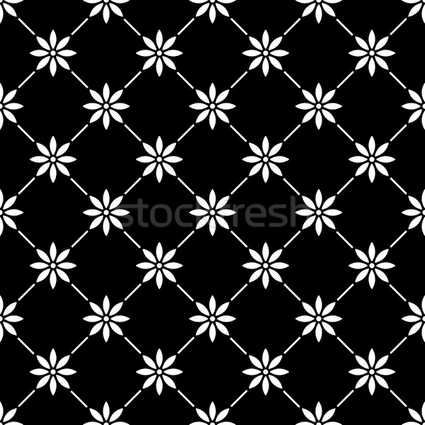 Geometric seamless white pattern in with flowers on black background Stock photo © RedKoala