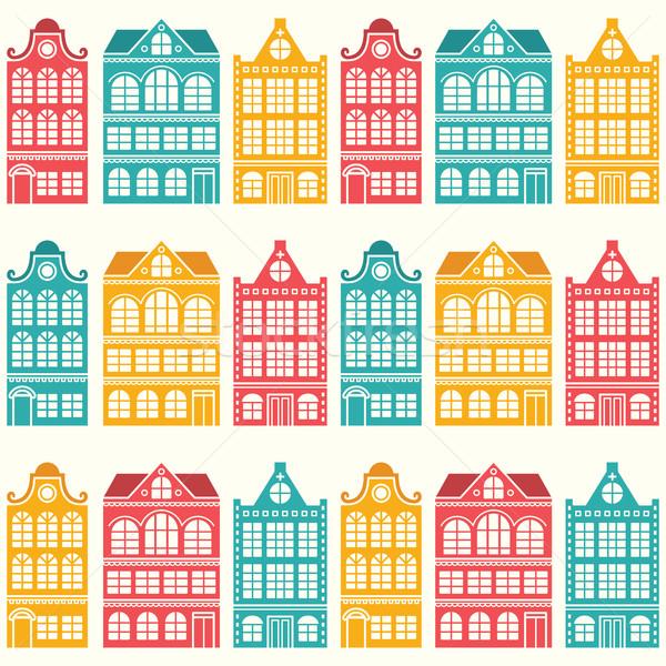 Sem costura casa padrão holandês casas estilo moderno Foto stock © RedKoala