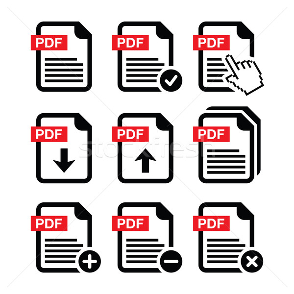 PDF download and upload icons set    Stock photo © RedKoala
