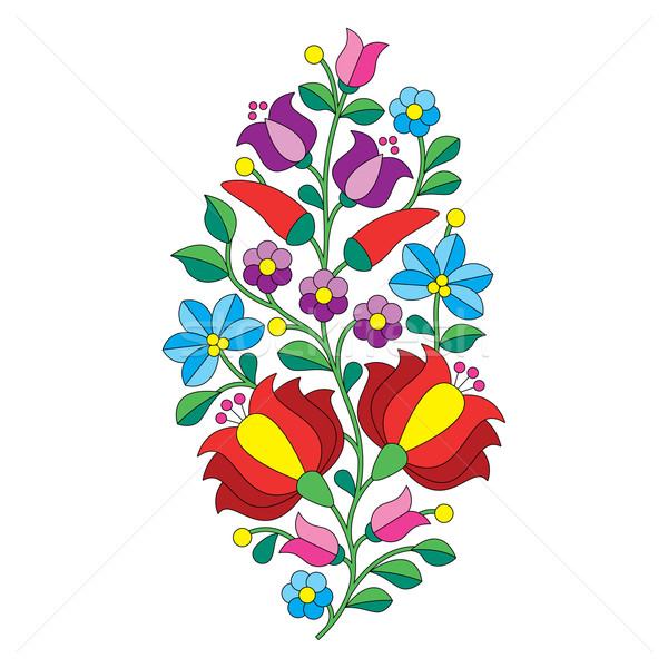 Hungarian folk pattern - Kalocsai embroidery with flowers and paprika  Stock photo © RedKoala