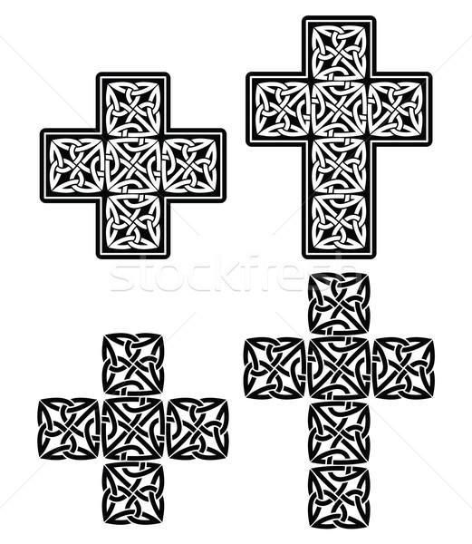 Celtic cruz establecer tradicional diseños negro Foto stock © RedKoala