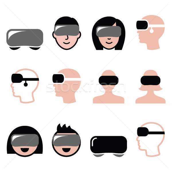 Virtual reality headset for 3D gaming, viewing icons  Stock photo © RedKoala