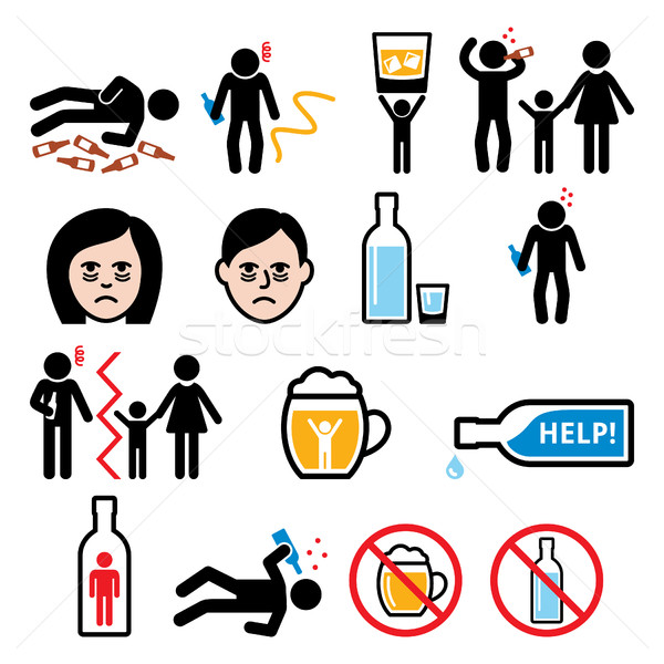 Stock photo: Alcoholism, drunk man, alcohol addiction icons