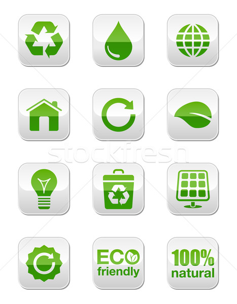 Green buttons - eco Stock photo © RedKoala