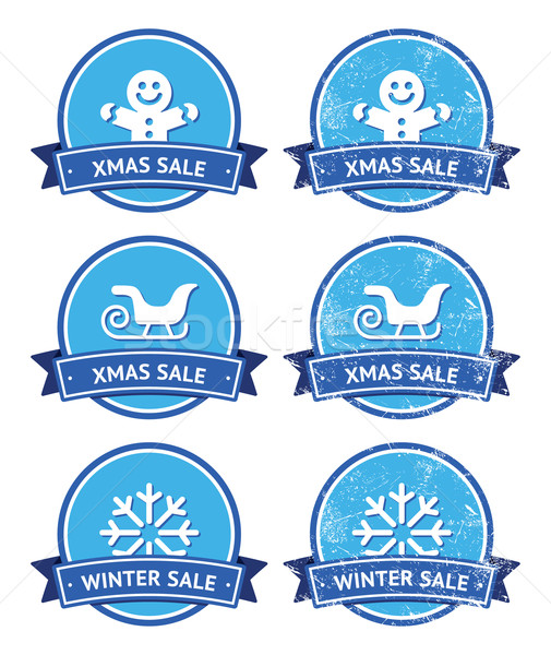 Stock photo: Christmas and winter sale retro labels