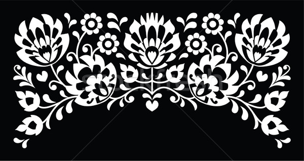 Polish floral folk white embroidery pattern on black background Stock photo © RedKoala