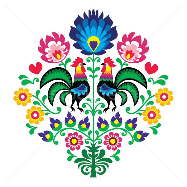 Polish folk embroidery with roosters - floral pattern Wzory Lowickie Wycinanka Stock photo © RedKoala