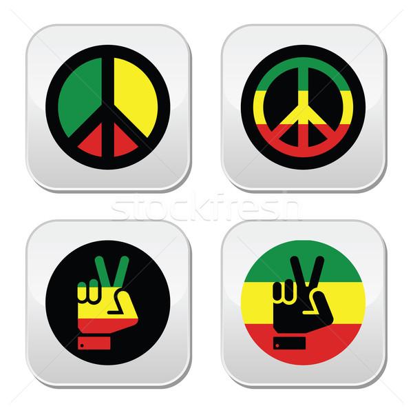 Béke kézmozdulat vektor ikon szett szimbólumok izolált Stock fotó © RedKoala