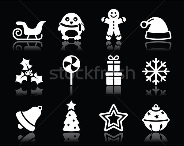Stok fotoğraf: Noel · beyaz · siyah · noel · kış