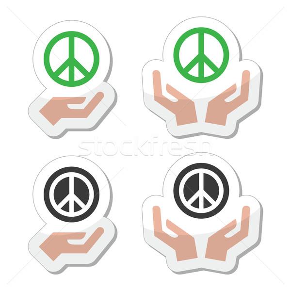 Foto stock: Paz · signo · manos · vector · aislado