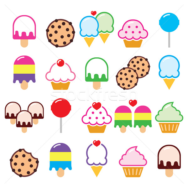 Cupcake, ice-cream, cookie, lollipop icons Stock photo © RedKoala