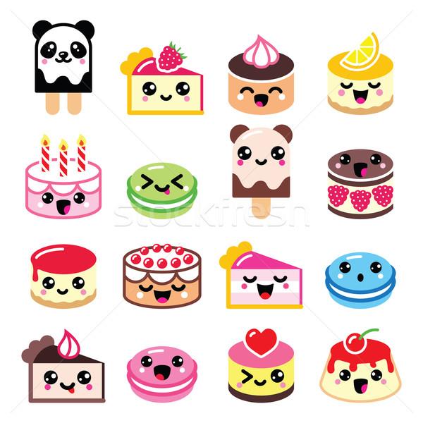 Cute kawaii dessert cake icecream iconen Stockfoto © RedKoala