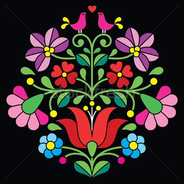 Kalocsai embroidery - Hungarian floral folk pattern on black   Stock photo © RedKoala