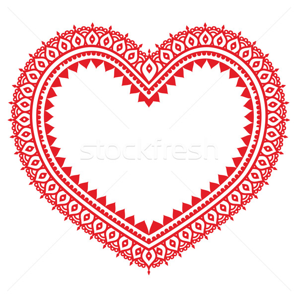 Heart red Mehndi design, Indian Henna tattoo pattern  Stock photo © RedKoala