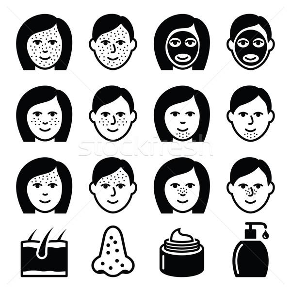 Skin problems - acne, spots treatment icons set  Stock photo © RedKoala