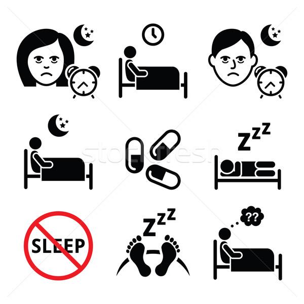 Slapeloosheid mensen moeite slapen gezondheid Stockfoto © RedKoala