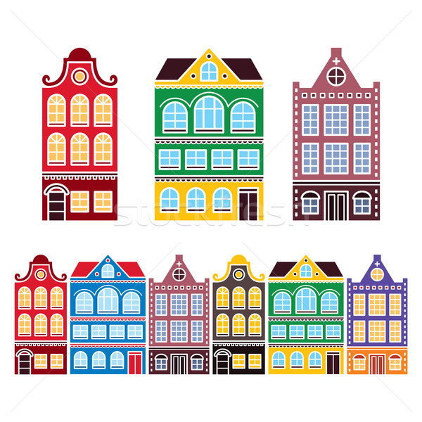 Amsterdam houses, Dutch buildings, Holland or Netherlands archictecture icons Stock photo © RedKoala