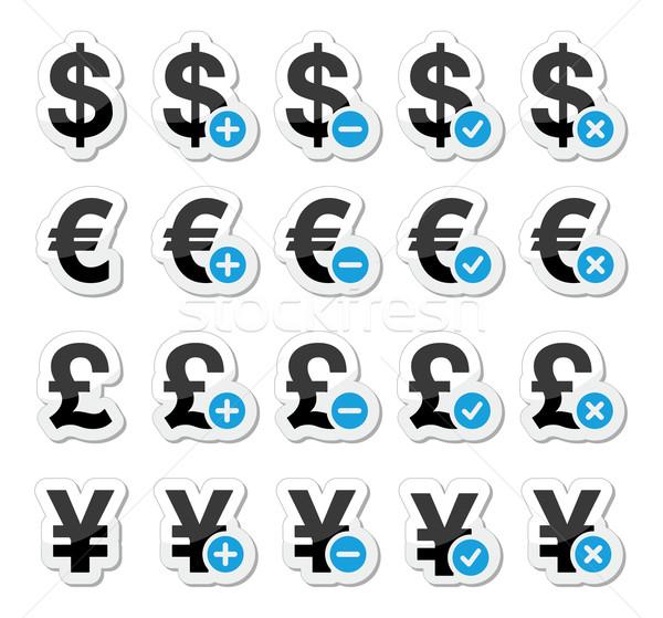 Currency icons set - dollar, euro, yen, pound Stock photo © RedKoala