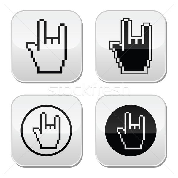 Pixel curseur boutons main Rock signe Photo stock © RedKoala