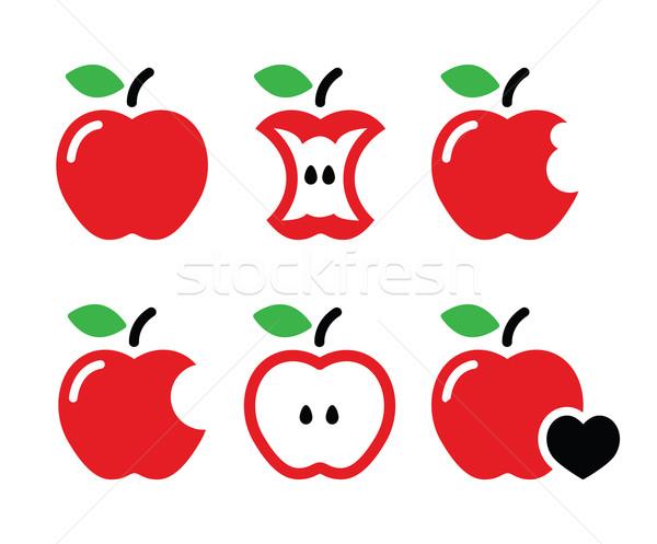 Maçã vermelha maçã núcleo metade vetor ícones Foto stock © RedKoala