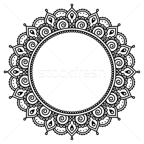 Mehndi, Indian Henna tattoo round pattern Stock photo © RedKoala