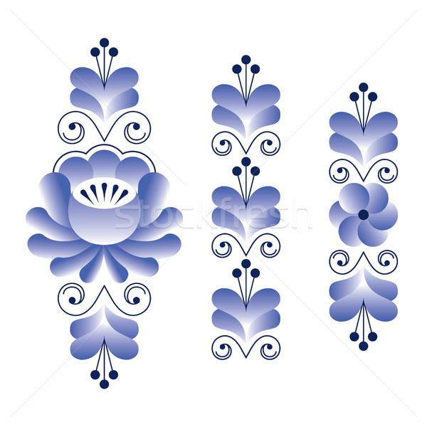 Russian folk art pattern - Gzhel ceramics style, blue floral long stripes Stock photo © RedKoala