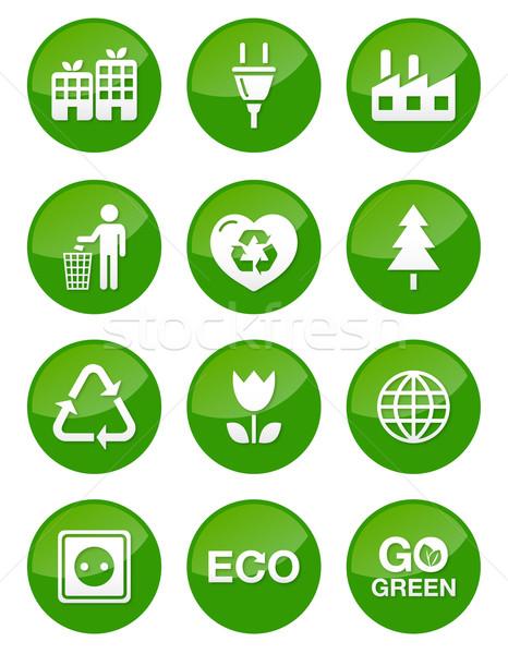 Zöld öko fényes gombok izolált újrahasznosítás Stock fotó © RedKoala
