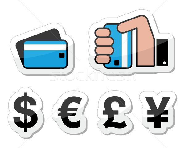 Winkelen betaling valuta iconen Stockfoto © RedKoala