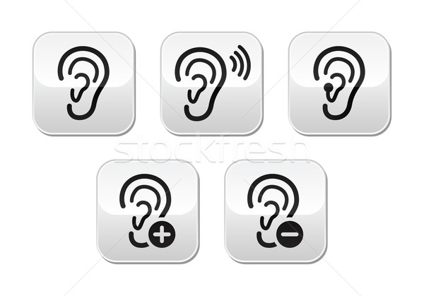 Ear hearing aid deaf problem buttons set Stock photo © RedKoala