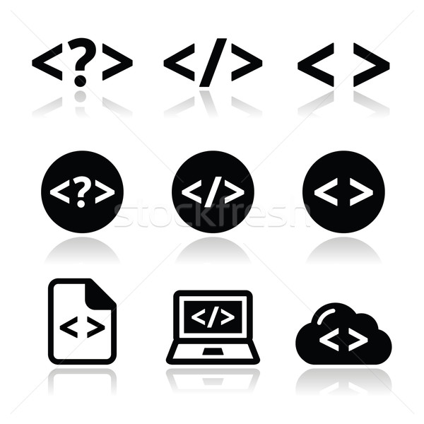 Progrmming code vector icons set Stock photo © RedKoala