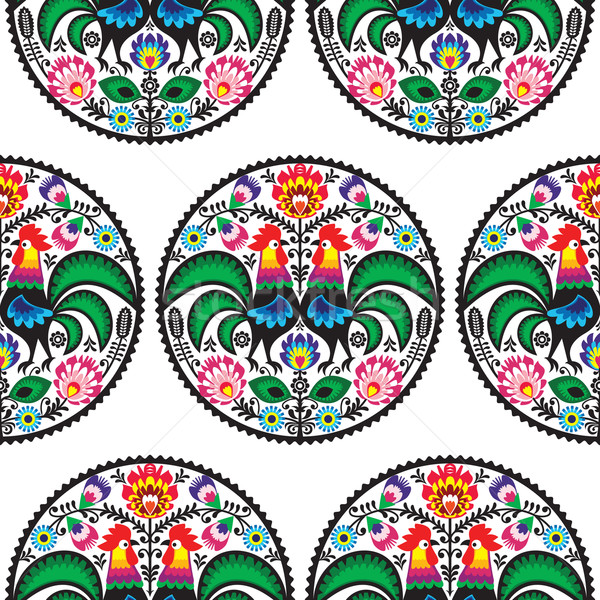 Seamless Polish floral pattern with roosters Stock photo © RedKoala