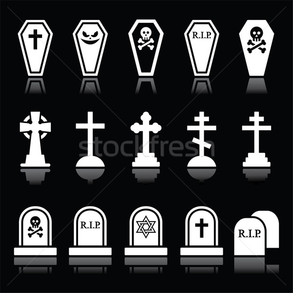 Halloween, graveyard icons set - coffin, cross, grave on black Stock photo © RedKoala
